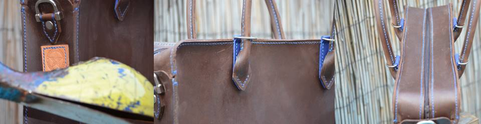 Waxed Briefcase Blue (3)