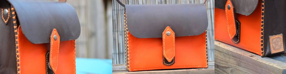 Waxed Small Orange Satchel (1)