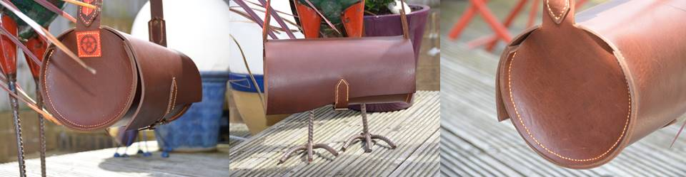 4mm Veg tan leather barrel bag